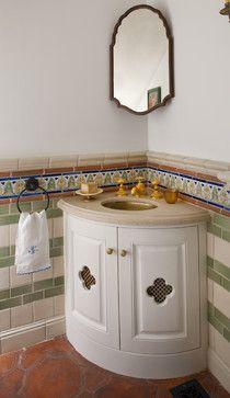 : Creative Spanish Colonial Remodel Mediterranean Bathroom Design Interior Used White Small Corner Bathroom Vanity Furniture Ideas Corner Bathroom Vanity, Small Bathroom Vanities, Bathroom Design Small, Bathroom Designs, Small Bathrooms, Bathroom Ideas, Vanity Sink, Bathroom Interior, Corner Mirror