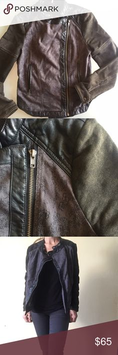 Free People Moto Jacket Free People rebel-rocket jacket mixed material, faux leather trim. Asymmetrical zip front, zip pockets, snap cuffs and color.  Subtle floral tone on tone pattern on the bodice and back. Front is longer than the back. Free People Jackets & Coats