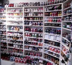 Niall has a shoe obsession.I have a shoe obsession. Sneaker Storage, Shoe Storage, Shoe Racks, Clothes Storage, Storage Ideas, Shoe Room, Shoe Closet, Shoe Wall, Closet Tour