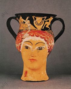 Banquet scene on the neck of a red-figured canthara in the form of a female head. H 32 Louvre, Departement des Antiquites Grecques/Romaines, Paris, France Perseus And Medusa, Sea Peoples, Greek Pottery, Female Head, Picture Story, Vases, Effigy, Ancient Greece, Figure Painting