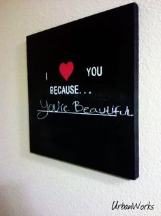chalkboard paint over a canvas, stencil letters with acrylics ---> like this better than the other ones I've seen! Maybe in a grey chalkboard paint!