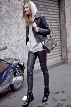 Street casual. I like hoods with leather jackets, although I don't think I'd have the hood up unless the weather was wet.