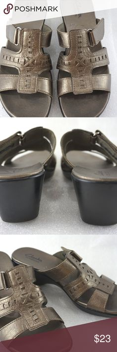 """Clarks Sandals 7.5M Celtic Bronze Womens For sale is a pair of Clarks sandals  Size: 7.5M Length: 9.5"""" from heel to front of toe Width: 3.25"""" at widest part of soles Heel: 2""""  I'll ship within 24 hours  Thank you Clarks Shoes Sandals"""