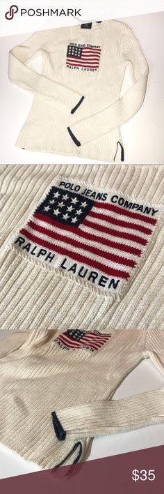 05a24573181 Vintage 90s Polo by Ralph Lauren Flag Sweater-S POLO JEANS CO RALPH LAUREN  soft