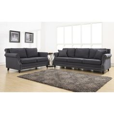 Camden Grey Linen Living Room Set - Overstock™ Shopping - Great Deals on Sofas & Loveseats | $1900 for the set