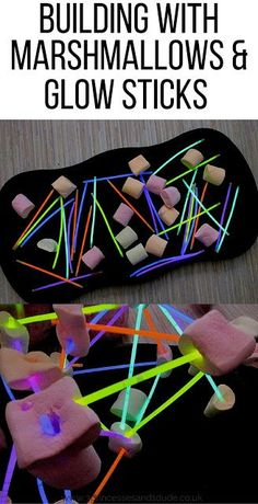 Giant Marshmallows and Glow Stick Structures Activity Time. Giant Marshmallows and Glow Stick Structures Glow Stick Crafts, Glow Stick Party, Glow Sticks, Glow Stick Games, Glow Crafts, Eyfs Activities, Activities For Kids, Activity Ideas, Giant Marshmallows