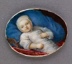 A portrait of Marie Antoinette of Austria as an infant by an unknown artist, circa 1755.