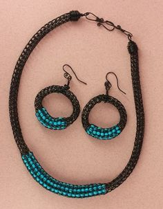 Turquoise Howlite Bead Seed Necklace w Earrings by ElizaWire