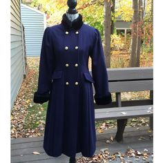 "50% OFF HP80's Rothschild Vintage Coat Blue and Black Vintage coat. Fur collar and wrists with gold buttons attached. Pleated detail with pockets. 70% wool 30% nylon Bust 18 1/2"" Waist 20"" Sleeves 25"" Length 35 1/2"". No stains, holes etc. extra button included. Markdown upon request.✌️ Vintage Jackets & Coats Trench Coats"