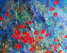 CAMPO DE AMAPOLAS. lienzo abstracto moderno azul rojo por ABYSSIMO