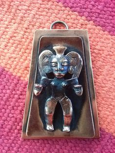 Vintage 1950s Copper Pendant Brooch Aztec Mayan Man 2015519 - pinned by pin4etsy.com