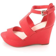 Bar Iii Sophie Women's Platform Wedge Sandal ($43) ❤ liked on Polyvore featuring shoes, sandals, red, wing tip oxfords, heeled sandals, platform wedge sandals, slingback wedge sandals and lace-up heel sandals