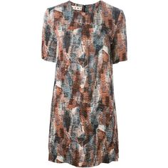 Marni abstract print shift dress (€525) ❤ liked on Polyvore featuring dresses, multicolour, short-sleeve maxi dresses, multi color dress, round neck dress, short sleeve dress and brown dress
