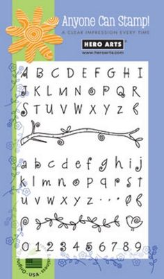 """ Fanciful Swirl Alphabet. -- Name: Fanciful Swirl Alphabet and Number. -- One (1) Hero Arts ""Fanciful Swirl Alphabet and Number"" Stamp Set. Hero Arts. -- Stamp by Hero Arts. Clear stamps are easy to use. 