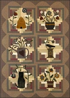 Log Cabin Garden Primitive Quilt Pattern by Jeni Gaston | Woolen Willow Designs