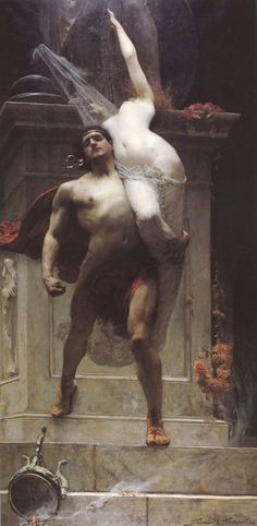 chrestomatheia:  Solomon Joseph Solomon, Ajax and Cassandra, 1886. (Ajax the lesser, son of Oileus)