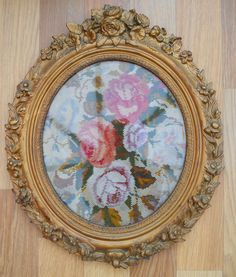 ANTIQUE OVAL PICTURE FRAME WOOD WITH PLASTER DECORATIVE SURROUND & AN OLD TAPESTRY INSIDE ~ SOLD ON MY EBAY SITE LUBBYDOT1