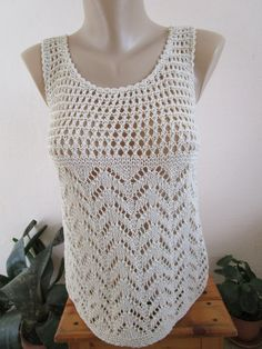 Hand Knitted Tan Top, Women Tank Top, Lace Summer Top by Anitaknit on Etsy