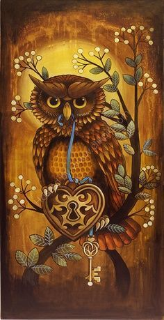 """""""Key to my Heart"""" Limited Edition Print ~ Kerry Evans Art ~ It's a Colorful Life… Bird Illustration, Illustrations, Evans Art, Mandala, Owl Pictures, Owl Always Love You, Beautiful Owl, Beautiful Pictures, Owl Crafts"""