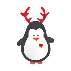 930177d3fc4 Shop Cute Penguin with Heart and Reindeer Antlers penguin t-shirts designed  by bluerockproducts as well as other penguin merchandise at TeePublic.