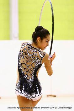Alexandra Ana Maria Agiurgiuculese (Italy), hoop 2016 Ice Dance Dresses, Figure Skating Dresses, Dance Outfits, Synchronized Skating, Synchronized Swimming, Gym Leotards, Rhythmic Gymnastics Leotards, Gymnastics Suits, Figure Skating Costumes