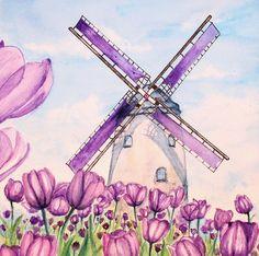 Beyond the horizon by Karitaart on DeviantArt Kids Watercolor, Watercolor Sketch, Watercolor Landscape, Watercolor Flowers, Watercolor Paintings, Windmill Drawing, Windmill Art, Art Drawings For Kids, Easy Drawings