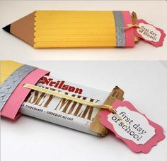 Back to School pencil chocolate wrap video tutorial by Heather Summers, here: stampwithheather. Back To School Party, School Parties, Back To School Gifts For Kids, School School, Middle School, High School, Teacher Cards, Teacher Gifts, Chocolate Wrapping