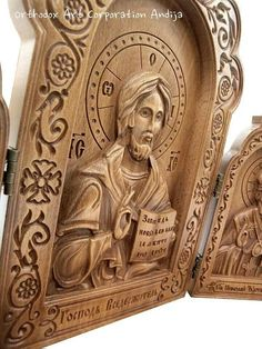 Wood Carving Designs, Wood Carving Patterns, Fabric Plasters, Orthodox Catholic, Plaster Art, Religious Icons, Orthodox Icons, Christian Art, Woodcarving