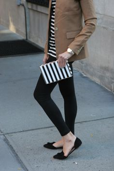 MariaOnPoint | Double Stripes @jcrew regent blazer, oversized striped turtleneck, tassel flats #fallfashion