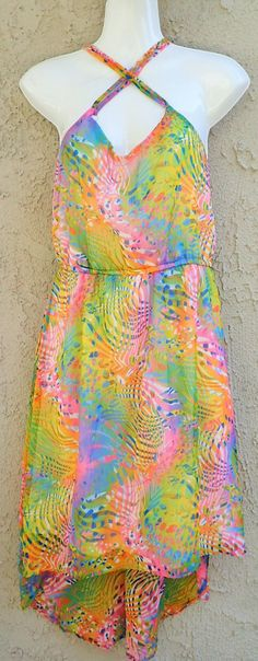 90's ANGIE Pop Culture Asymmetrical Fluorescent Strappy Long Dress - Womens Vintage Sundress - Size Large by DOINGITSOBER on Etsy
