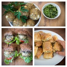 Turkey, lemon and feta baby burgers, mini meatballs and sausage rolls. One recipe, three variations. Includes gluten and dairy free versions. Perfect party food and school lunches. Savory Snacks, Healthy Snacks, Healthy Eating, Healthy Recipes, Savoury Recipes, Raw Recipes, Simple Recipes, Healthy Kids, Delicious Recipes