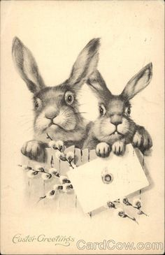 Easter Greetings with Bunny Rabbits