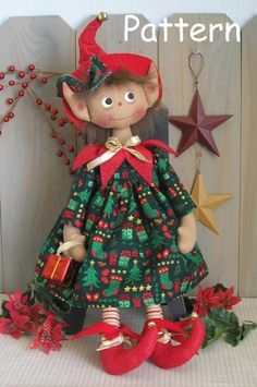 PDF E-Pattern #25 Primitive Raggedy Christmas Elf Doll Holiday Sewing Craft by cottonwoodcountry on Etsy https://www.etsy.com/listing/195118181/pdf-e-pattern-25-primitive-raggedy