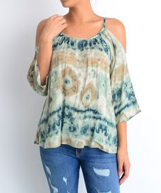 This Navy Tie-Dye Off-Shoulder Top by Millibon is perfect! #zulilyfinds