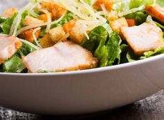 """The """"Caesar"""" salad: recipe with chicken fillet and Parmesan - Tasty-Meals - Simple recipes for every day Chicken Flavors, Easy Chicken Recipes, Salad Recipes, Diet Recipes, Healthy Recipes, Salada Ceasar, Chicken Ceasar Salad, Caesar Salat, Honey Garlic Chicken"""