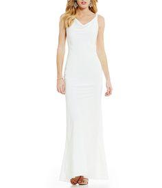 Xscape Long Cowl Neck V-Back Slip Dress