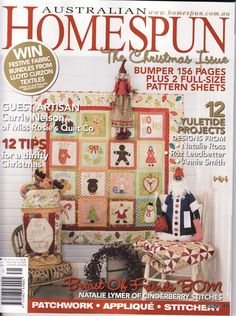 _Australian Homespun The Christmas Issue - Yolanda Fernández Monge - Picasa Web Album Sewing Magazines, Magazine Crafts, Cross Stitch Books, Patch Aplique, Applique Fabric, Patterned Sheets, Painted Books, Crochet Books, Book Quilt