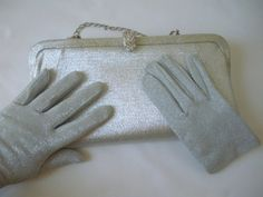 Ladies Vintage Silver Clutch and Gloves Never Used by CraftyMJC, $26.00
