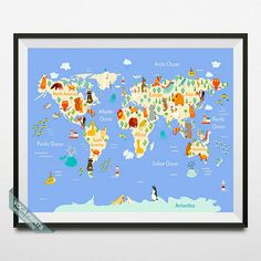 Animal World Map Poster World Map Print Animal World by VocaPrints
