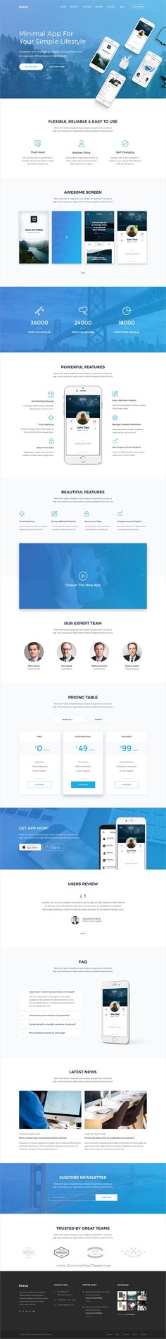 Inova is a creative #PSD landing page template for Product, SaaS, #App, #Startups or marking websites with 22 organized PSD pages download now➩ https://themeforest.net/item/inova-product-saas-app-startup-marketing-landing-page/19486443?ref=Datasata