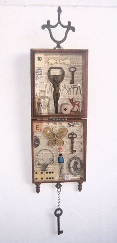Assemblage Art - Recycle 3D Salvage -Love Me -1057. $100.00, via Etsy.