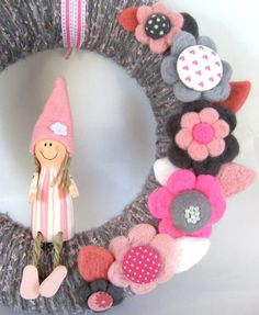 She Gnome - Yarn Wreath 12 inches. $60.00, via Etsy.