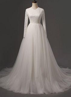 Long Wedding Dress, Lace Wedding Dress, Tulle Wedding Dress, Honest Bridal Dress