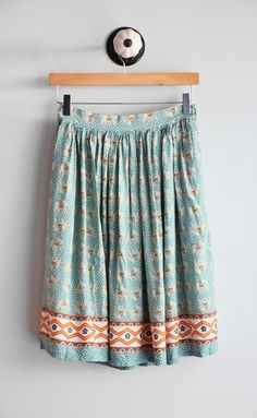Mint Elephant Print Skirt