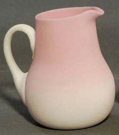 Mt Washington Glass; Peachblow, Plush Finish Handled Creamer - 3 3/4 Inch HOA. Shape also found in Burmese and Amberina.