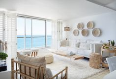 The refurbishment of this quaint apartment maximises its abundant natural light and vistas Ocean View Living Room, Apartment Interior, White Apartment, Ocean View Apartment, Beach Apartment Decor, Seaside Apartment, Apartment, Beautiful Interiors Decor, Bright Apartment