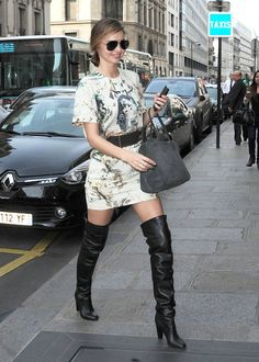While in Paris, Miranda Kerr let her long legs take focus by putting | Miranda Kerr Has an Outfit For Just About Everything | POPSUGAR Fashion