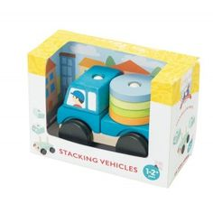 Le Toy Van - Truck Stacker: Blue Truck Stacker that is perfect for little hands. With 7 colourful wooden pieces to stack onto the sturdy wheel base to make a truck. Sort, stack and roll! Age: 1+ Years #alltotstreasures #letoyvan #bluetruckstacker #woodentoys #stacking #truck