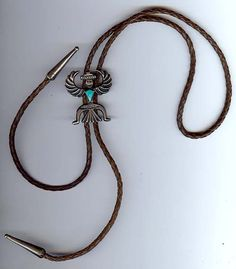 VINTAGE ZUNI INDIAN STERLING SILVER & TURQUOISE WINGMAN BOLO TIE