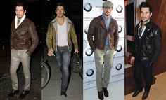 David Gandy Style & Fashion - Best Looks - GQ.co.uk - The gentleman's leather jacket - Rather than thinking of it as something to throw on if you head to a gig, treat your leather jacket as an extra blazer at your disposal. Whether you're more of a cropped biker or belted motorcycle jacket kind of man, ensure you go for a fit that hits exactly on the shoulders and hugs your body - then you can wear it either as a top layer or under another layer.